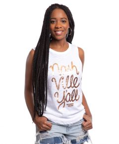 Wildhorse Women's Nashville Y'all Gold Foil Tank